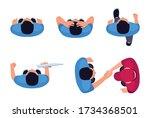 man position flat vector... | Shutterstock .eps vector #1734368501