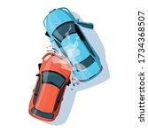 car crash semi flat rgb color... | Shutterstock .eps vector #1734368507