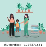 female doctor vaccinating boy... | Shutterstock .eps vector #1734371651