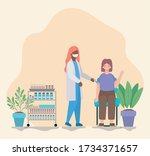 female doctor vaccinating woman ... | Shutterstock .eps vector #1734371657