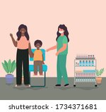 female doctor vaccinating boy... | Shutterstock .eps vector #1734371681