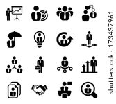 icon set in black for business  ... | Shutterstock .eps vector #173437961