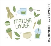 matcha tea poster with quote... | Shutterstock .eps vector #1734395144