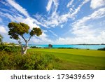 Stunning view of a coastal golf course - stock photo