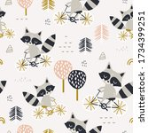 seamless childish pattern with... | Shutterstock .eps vector #1734399251