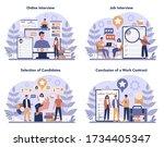 job interview concept set. idea ... | Shutterstock .eps vector #1734405347