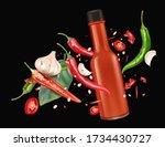 red chili pepper bottle mock up ...   Shutterstock .eps vector #1734430727