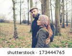 couple in love at the park... | Shutterstock . vector #173444765