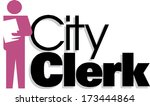city clerk sign vector | Shutterstock .eps vector #173444864