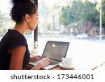 businesswoman using laptop in... | Shutterstock . vector #173446001