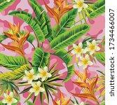 tropical exotic plumeria... | Shutterstock .eps vector #1734466007