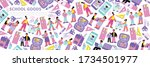 colorful school goods and...   Shutterstock .eps vector #1734501977