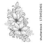 hand drawn bouquet with flowers ... | Shutterstock .eps vector #1734522401