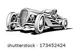 Stock vector hot classic retro sports car roadster vector illustration 173452424