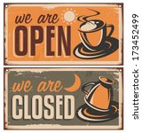 retro door signs for coffee...