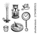 different types of clocks. ink...   Shutterstock .eps vector #1734585521