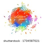 round frame of twigs. vector... | Shutterstock .eps vector #1734587021