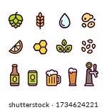 beer icon set. beer brewing... | Shutterstock .eps vector #1734624221