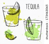 set of two cocktail shots with... | Shutterstock .eps vector #173463065