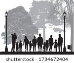 family silhouettes in nature.... | Shutterstock .eps vector #1734672404