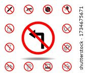 forbidden turn left icon. set...