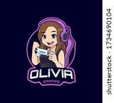 cute gamer character mascot... | Shutterstock .eps vector #1734690104