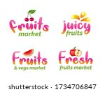 fruits market lettering set....   Shutterstock .eps vector #1734706847