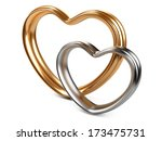 golden and silver hearts shape isolated on a white background - stock photo