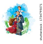 turkish kids hugging to first...   Shutterstock .eps vector #1734795071
