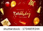 gold lettering happy birthday...   Shutterstock .eps vector #1734859244