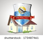 protection shield with house  ... | Shutterstock .eps vector #173487461