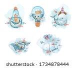 Set Of Cartoon Sea Animals....