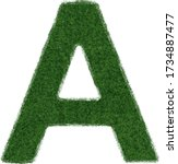 grass letter a isolated on... | Shutterstock .eps vector #1734887477