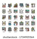 set of research and analysis... | Shutterstock .eps vector #1734905564