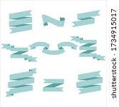 blue pastel ribbon set in... | Shutterstock .eps vector #1734915017