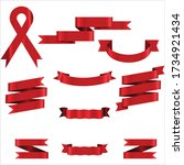 red ribbon set in isolated for... | Shutterstock .eps vector #1734921434