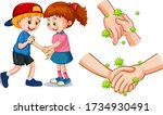 children touch each other hands ... | Shutterstock .eps vector #1734930491
