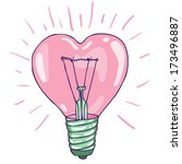 Heart Shape Bulb   Vector Hand...