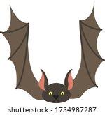 cute cartoon bat  vector... | Shutterstock .eps vector #1734987287
