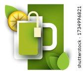 cup of green tea with lemon... | Shutterstock .eps vector #1734996821