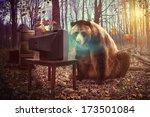 a wild brown bear is watching...   Shutterstock . vector #173501084