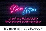 neon handwritten letters.... | Shutterstock .eps vector #1735070027