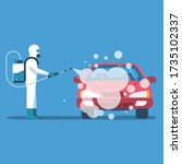 car disinfection. cleaning and... | Shutterstock .eps vector #1735102337