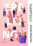 people characters spelling... | Shutterstock .eps vector #1735106951