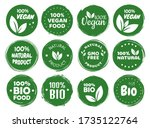 vegan food logo labels and tags.... | Shutterstock .eps vector #1735122764