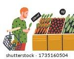 cartoon man choosing vegetable... | Shutterstock .eps vector #1735160504