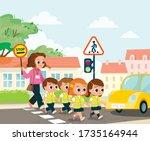 teacher and school kids cross...   Shutterstock .eps vector #1735164944