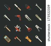 hand tools icon set   flat...