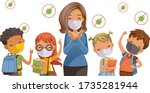 back to school for new normal... | Shutterstock .eps vector #1735281944