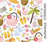 colorful fun summer seamless... | Shutterstock .eps vector #1735341401